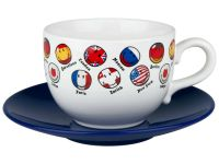 Jumbo Kaffeetasse mit Untertasse - Smiley Flags